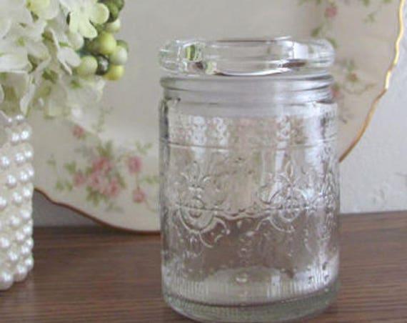 6 Wedding Favor Jars, Jars for Gifts,  Candle Jars, Floral Pressed Glass Mason Jar With Stopper, Vintage Style Glass Party Favor Jars