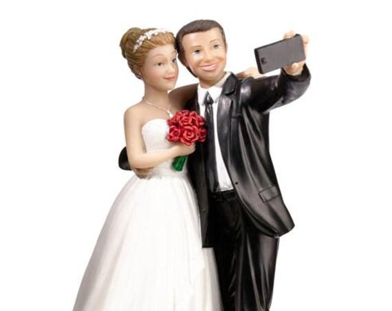 Bride and Groom Selfie Cake Topper, Wedding Cake Topper, Bride and Groom Cake Top, Wedding Cake Decorations