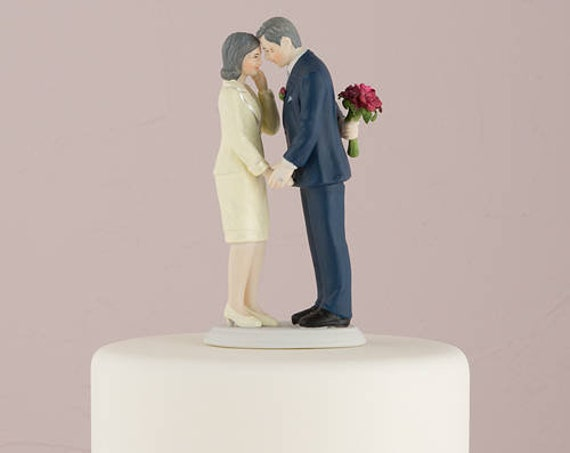 Wedding Cake Topper, Anniversary Cake Topper, Still In Love Mature Couple Cake Top Figurine, Second Marriage Bride and Groom Cake Top