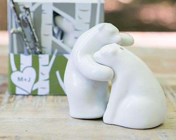 Wedding Favors, Reception Favors, Bear Hug Party Favors, Bear Salt and Pepper Shaker Party Favors, Ceramic Party Favors