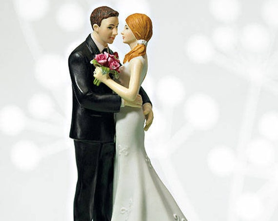 Bride Groom Figurines, My Main Squeeze Fun Loving Bride and Groom Cake Topper
