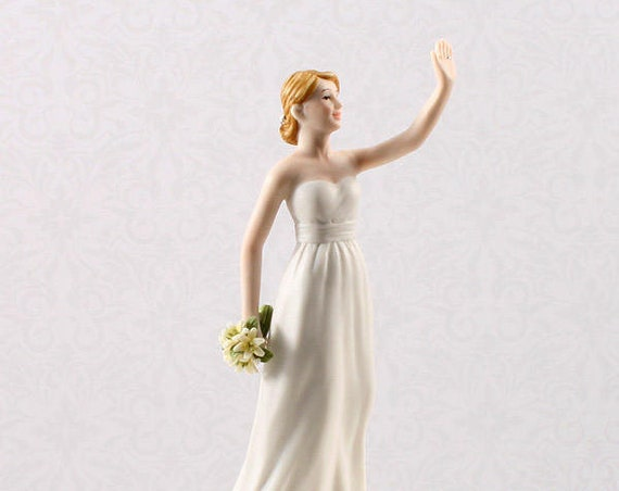 Wedding Cake Top Bride,  High Five Bride Figurine Cake Topper, Bride Wedding Cake Topper