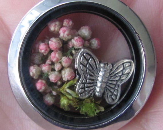 Floating Pendant with Preserved Flowers and Pewter Butterfly, Pendant Charm for Neck Chain