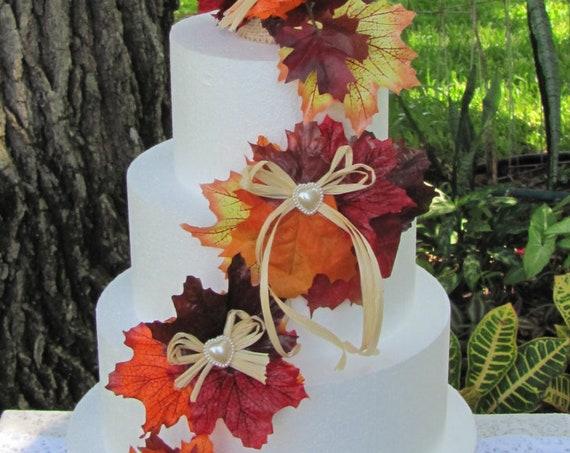 Autumn Wedding Cake Topper, Autumn Leaves Wedding Cake Top, Wedding Cake Top Flowers, Fall Wedding Cake Topper