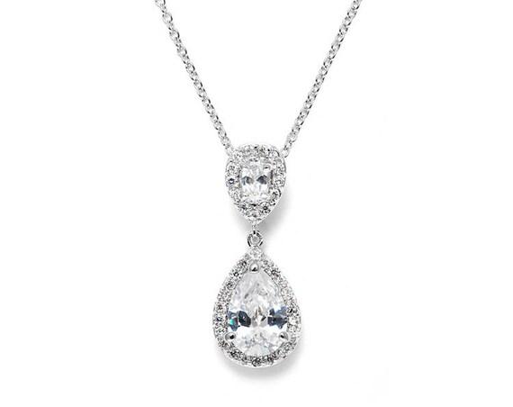 Necklace, Bridesmaids Necklace features Cubic Zirconia Teardrop Wedding Pendant