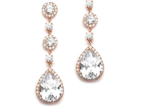 Cubic Zirconia Bridal Earrings, Rose Gold Pear-Shaped Drop Bridal Earrings with Pave CZ,  400E-RG