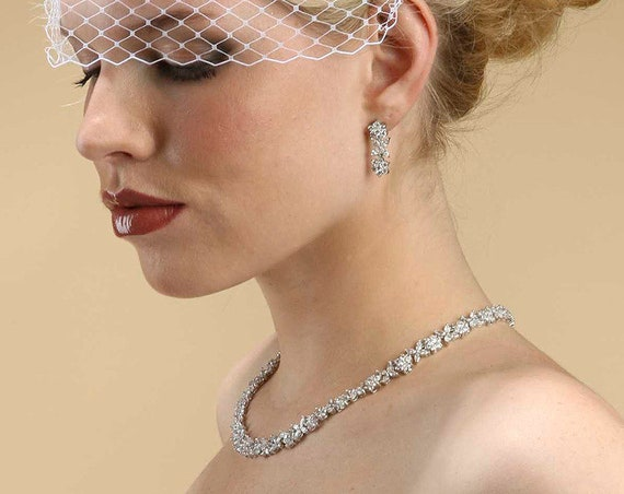 CZ Bridal Necklace with CZ Marquis Flowers 2020S, Brides Necklace with Earrings Set, Bridal Necklace Set