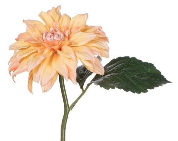 3 Peach Dahlia Stems, Artificial Flowers, Peach Wedding Dahlia Stems, Floral Stems, Peach Flowers