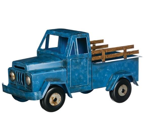 Truck Planter, Blue Metal Truck Flower Container, Truck Flower Pot Holder, Centerpiece Container