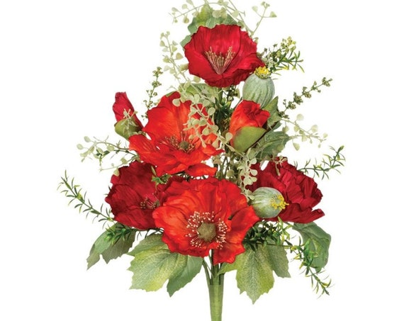 Poppy Spray Floral Pick, Poppy Floral Pick, Red Poppy Floral Pick, Craft Flowers, Wedding Home Deco Floral Stems Pick, Centerpiece Flowers