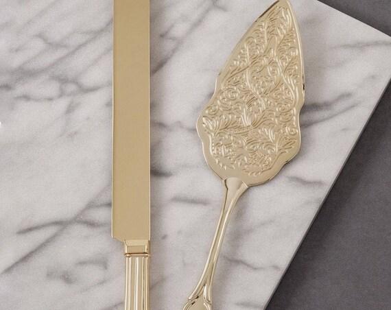Wedding Cake Server Set, Wedding Cake Knife and Server, Gold Plated Knife and Server, Reception Cutlery Set