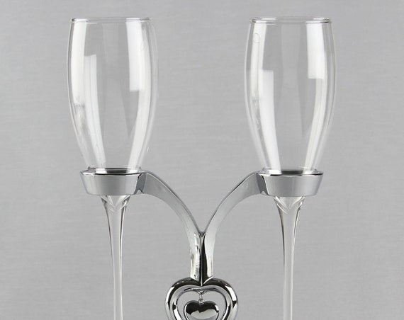 Wedding Toasting Flutes with Stand, Wedding Reception Toasting Ceremony Glasses