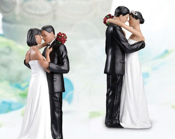 African-American Wedding Couple Figurine, Bride and Groom Figurine Cake Top