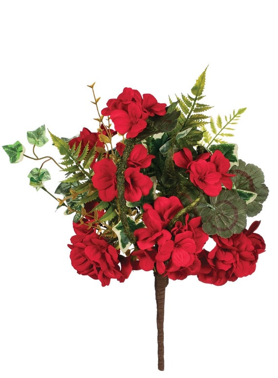 Geraniums, Artificial Flowers, Red Geranium Mix Floral Pick, Geranium Floral Pick, Geranium Craft Flowers, Flowers for Party Decorations