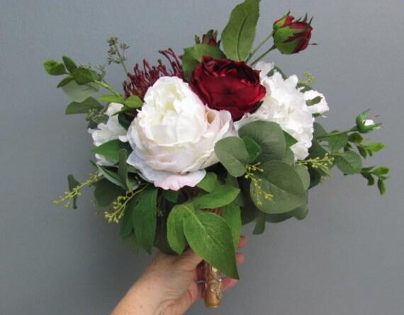 Brides Bouquet, Bridal Bouquet, Burgundy, Pink, Ivory Bride Bouquet, Wedding Bouquet, Peonies, Hydrangea, Protea, Gold Handle Bouquet
