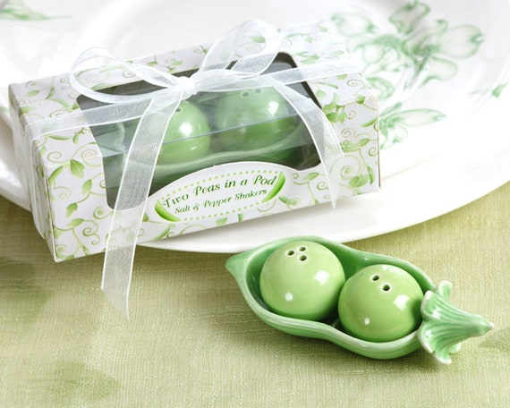 Wedding Favors, Two Peas in a Pod Party Favors, Bridal Shower Favors, Salt and Pepper Shaker Party Favors