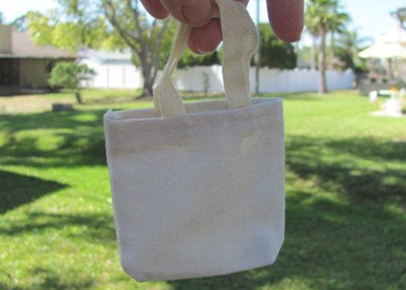 20 Party Favor Bags, Cotton Canvas Mini Tote Favor Bag, Plain Tiny Tote Gift Bags, Small Tote Gift Bags