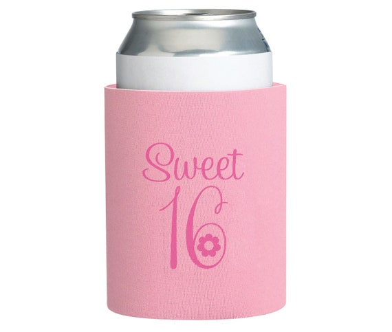 8 Sweet 16 Party Favors, 16th Birthday Cup Cozy, Sweet 16 Can Cozy Party Favor, Can Koozie Party Favor