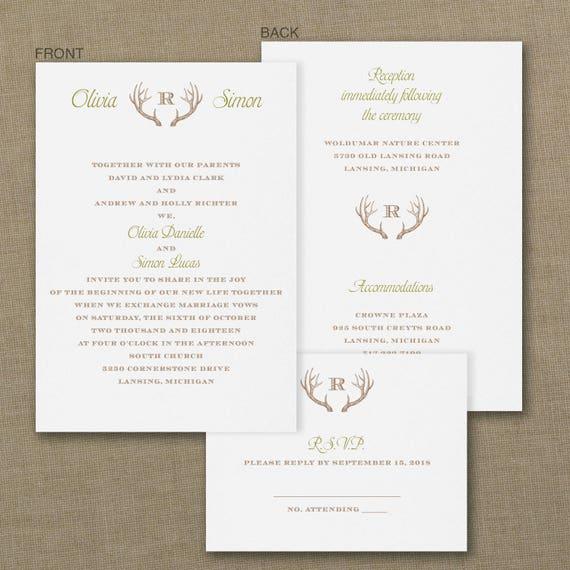 Rustic Antler Invitations, Rustic Wedding Invitations, Affordable Wedding Invitations for Rustic Weddings