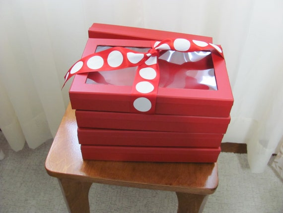 4 Red Gift Boxes, Christmas Red Window Gift Boxes with Attached Ribbon, Holiday Gift Boxes
