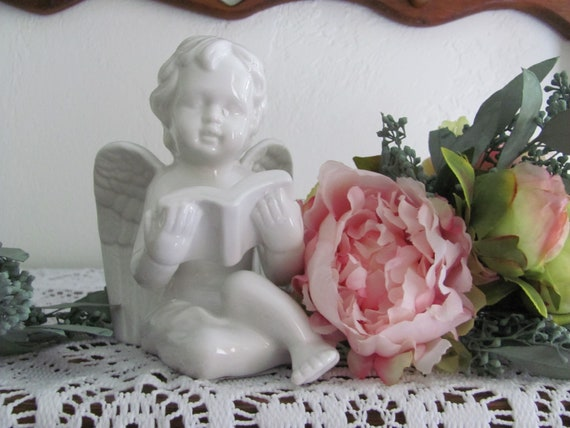 Cake Top Angel, Angel Holding a Book Cake Topper, Porcelain Angel Floral Accent, Graduation Cake Top Angel