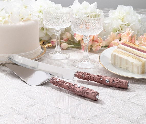 Rose Gold Wedding Cake Cutlery Set, Rose Gold Wedding Cake Knife, Wedding Cake Server, Rose Gold Serving Set, Wedding Cake Ceremony Set