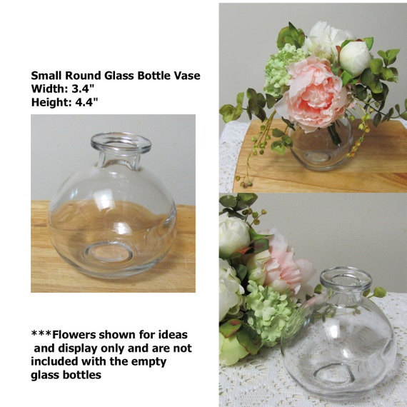 5 Glass Bud Vases, Clear Glass Bottle Vases, 5 Round Glass Bottles to Decorate, Small Glass Craft Bottles, Bottle Crafting