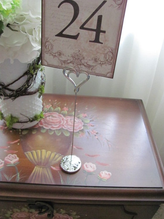 Heart Table Number Holders, Reception Table Number Holders, Holders for Event Signs, Double Heart Wedding Stationery Table Number Holder