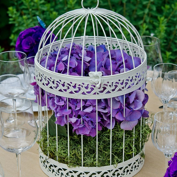 Wedding Birdcage Vase, Ivory Birdcage Floral Holders, Birdcage Centerpiece Floral Container for Weddings Events, Wedding Wishing Well