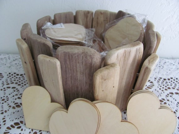 Wedding Signing Hearts with Wood Basket, 120 Wedding Guest Hearts, Rustic Wood Wedding Basket