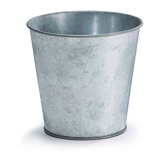 24 Galvanized Tin Pots, Tin Planters with Liner, Tin Flower Pots, Party Buckets, DIY Tin Craft Pots