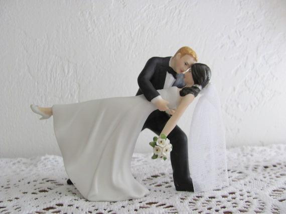 Bride and Groom Wedding Cake Topper, Romantic Dip Wedding Cake Top, Blond Hair Groom, Dark Brown Hair Bride