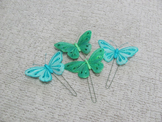Butterfly Embellishments, 2 Green and 2 Blue 5 Inch Wide Butterflies, Craft  Butterflies, Floral Craft Decorations, Floral Accents