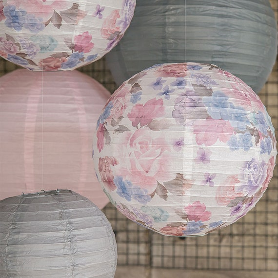 Party Lanterns, Paper Lanterns Hanging Lanterns, Vintage Floral Print Wedding Lanterns, Wedding Lanterns,  Round Hanging Lanterns