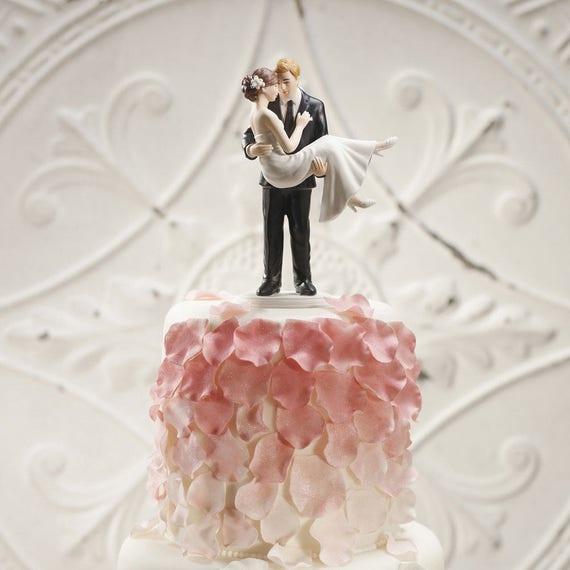 Porcelain Bride and Groom Cake Topper, Swept Up in His Arms Cake Top, Bride and Groom Figurines, Wedding Cake Tops