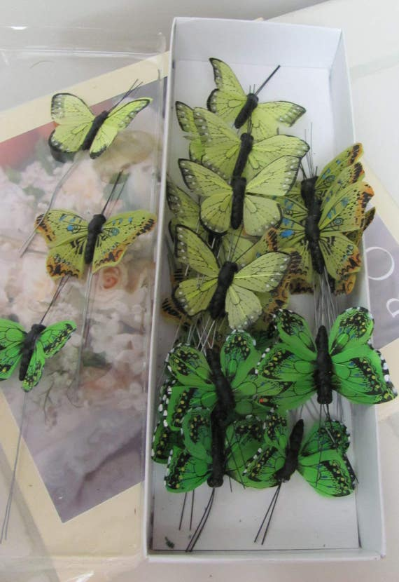 Green Butterflies, Small Butterflies, Feather Butterflies, Craft Butterflies, 25 Decorative Butterflies,Butterfly, Choice of Color