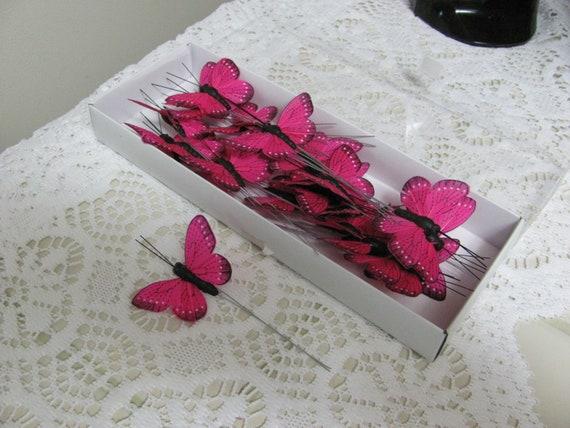 Butterflies, Small Bright Dark Pink Butterflies, 24 Small Butterflies, Craft Butterflies