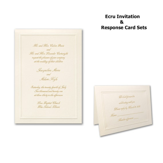 Ecru Wedding Invitation Sets, Wedding Invitations and Response Card Sets
