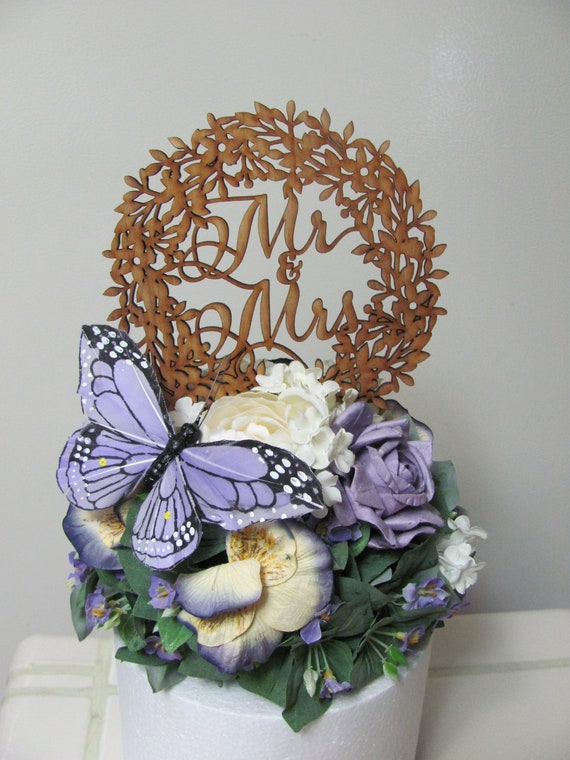 Mr and Mrs Wedding Cake Topper, Butterfly Floral Wedding Cake Topper