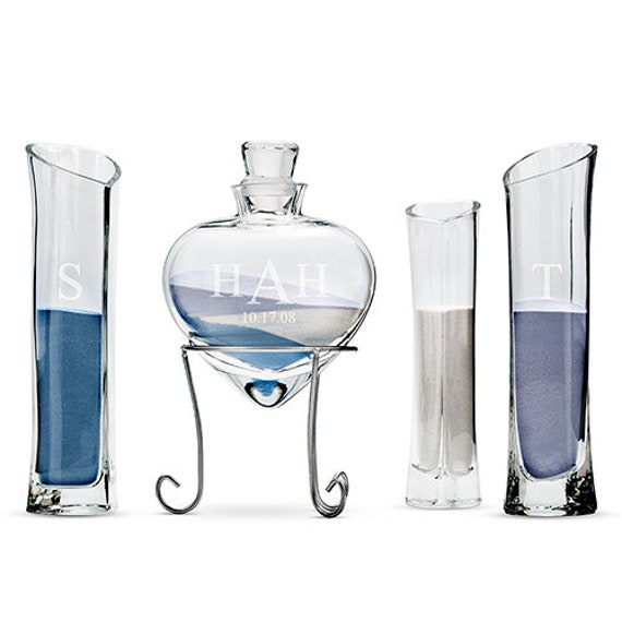 Wedding Unity Sand Ceremony Glass Vase Set, Heart Shaped Vase with Stand plus 3 Side Vases