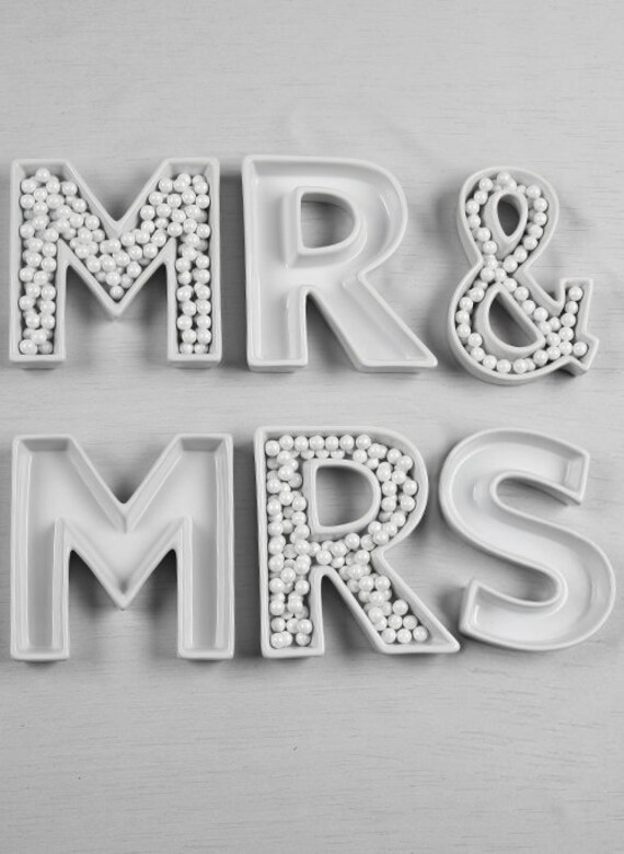 Wedding Letter Dishes, Wedding Tableware, Party and Event Letter Dishes, Party Table Candy Dish