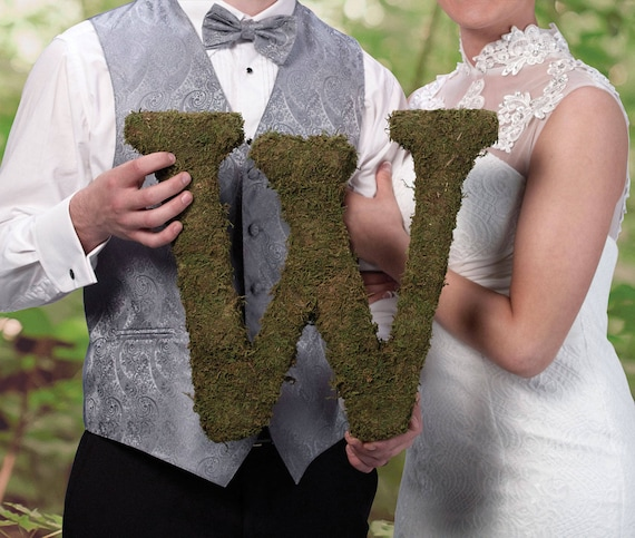 Moss Letters for Weddings, Parties and Home Decorations, You Add Your Own Ribbon, Flowers or Decorative Touch