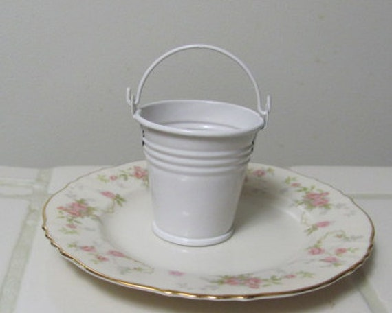 12 Mini White Favor Pails, White Favor Pails, White Mini Buckets