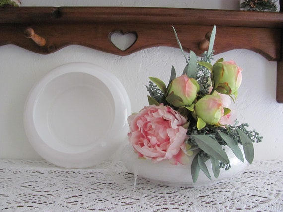 Shallow White Floral Dish, 4 Wedding Centerpiece Containers, Flower Container, Planter, Wedding Flower Arrangement Dishes