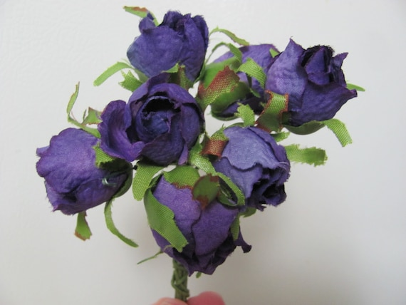 Purple Roses, Fabric Flowers, Craft Roses, Boutonniere Flowers, Corsage Roses, Bridal Hair Flowers