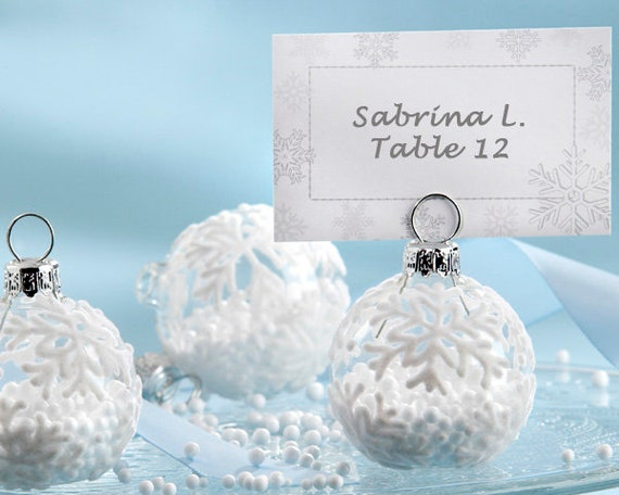 Holiday Ornament Place Card Holders, Christmas Party Seating Card Holders, Winter Name Card Holders, Snow Theme Party Favors