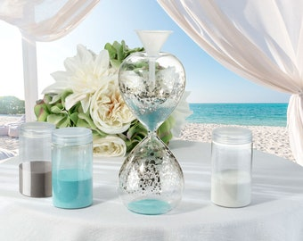 Wedding Sand Ceremony Kit, Unity Sand Hour Glass Shaped Vase Kit, Unity Ceremony Hour Glass Shape Vase, Sand and Funnel