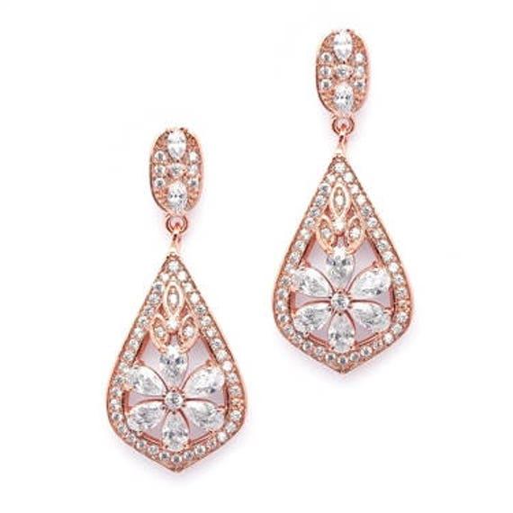 Weedding Bridal Earrings, Enchanting Art Deco Earrings, Mariell Jewelry, Sophisticated Rose Gold Art Deco CZ Wedding Earrings