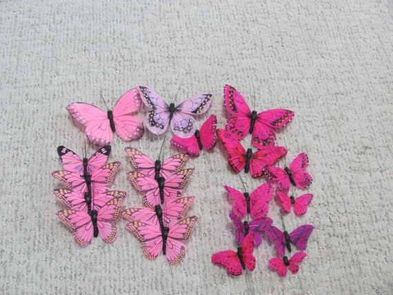 Butterflies Pinkish Colored, 20 Craft Butterflies, Favor Butterflies, spring Craft Butterflies