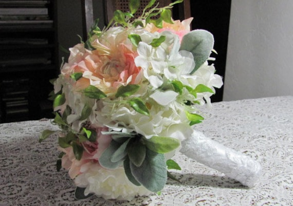 Bridal Bouquet Chantilly Lace Handle, Just Peachy in Pink silk Bridal Bouquet, Brides Bouquet